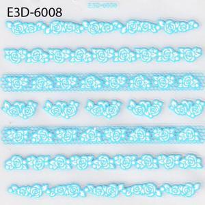 """Naklejki 3D AnnCo E3D-6008 Błękitne koronki """"białe różyczki"""" - 2882063638"""