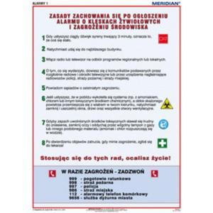 Alarmy! Jak zachować się podczas alarmu o klęskach żywiołowych - tablica ścienna - 2826501935