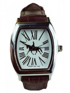 Zegarek na rękę ze skórzanym paskiem koń ujeżdżeniowy - GRAY'S - 2847727235