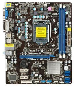 ASROCK H61M-GS Intel H61 LGA 1155 (PCX / VGA / DZW / GLAN / SATA / DDR3) mATX