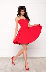 MENRIN rozkloszowana gorsetowa sukienka czerwona - 2854952445