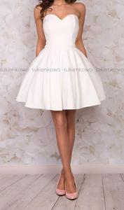 MENRIN - rozkloszowana gorsetowa sukienka ecru - 2855824227