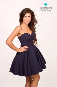 MENRIN - rozkloszowana gorsetowa sukienka granatowa - 2857339554
