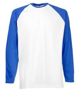 Koszulka L/S Baseball Biała/Niebieska L - 2827616394