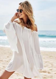 Biała plażowa tunika P42