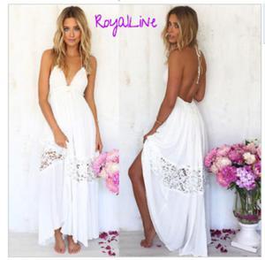 Biała długa sukienka plażowa P44