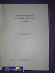 LITERATURA POLSKA W OKRESIE REALIZMU I NATURALIZMU - 2822517373