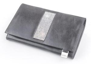 cv-540 skórzany portfel z kamieniami swarovskiego szary - 2826064404