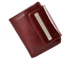SV 050 portfel damski z kamieniami swarovskiego ciemna czerwie - 2826064356