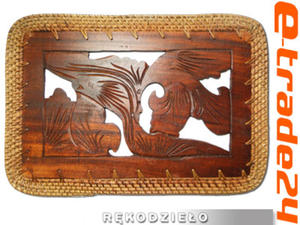 Rzeźbiona Podstawka PODKŁADKA na Stół Drewno+Rattan - 2862771103
