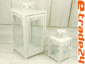 Latarnia Lampion Metalowe Białe Lampiony Komplet - 2862771170
