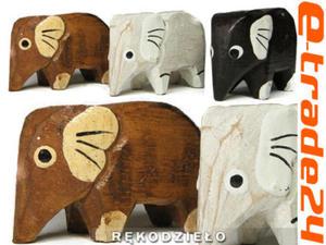 Rzeźba Figurka SŁOŃ Drewno Komplet Słonie 3 Kolory - 2862771198