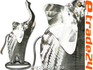 Metalowy SŁOŃ Rzeźba Figurka Rękodzieło ze Stali - 2862771201