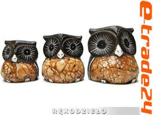 Figurki Rzeźby Drewno SOWA komplet 3 Sowy Rękodzieło - 2862771203