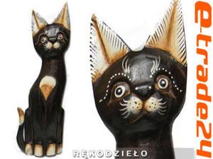 KOT Brąz Rzeźba Figurka Drewniana Koty 34cm Rękodzieło - 2862771205