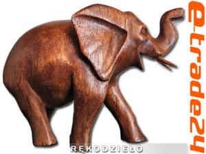 Rzeźba Figurka SŁOŃ Drewno Suar Rękodzieło 9,5x6cm - 2862771211