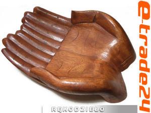 Efektowna Rzeźba z Drewna Suar Dłoń RĘKA Patera 30x20cm - 2862771218