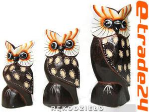 Figurki Rzeźby Drewno SOWA kpl 3 Sowy 10-16cm - 2862771220