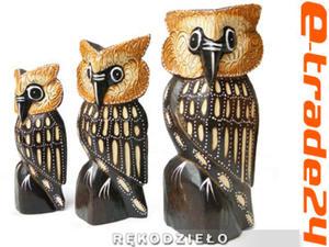 Figurki Rzeźby Drewno SOWA kpl 3 Sowy 20/1715cm - 2862771221