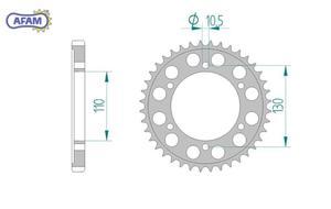 Zębatka AFAM tylna aluminiowa 13813-38 PS - 2848053394