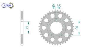 Zębatka AFAM tylna aluminiowa 13312H-42 PS - 2848053431