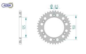 Zębatka AFAM tylna aluminiowa 72304N-44 - 2848055660