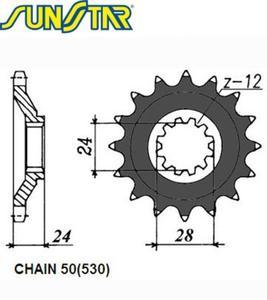 SUNSTAR zębatka przednia 525-18 - 2848059128