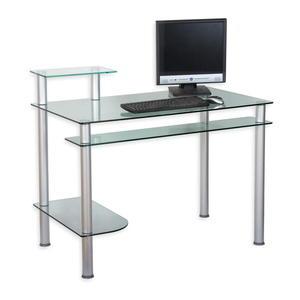 Biurko szklane na komputer Czarne - 2822820805