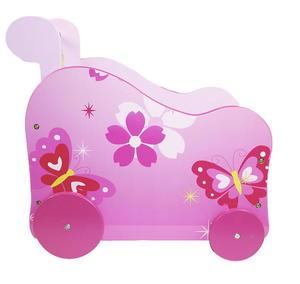 Wózek drewniany na zabawki MOTYLEK, różowy - 2822824280