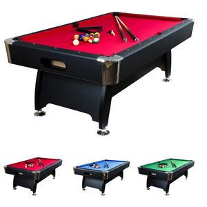 Stół bilardowy czarny 8ft Premium sukno czerwone + akcesoria bilardowe - 2822827819
