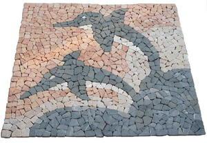 Mozaika kamienna - Marmurowa mozaika - Wzór w delfiny - 120x120 cm