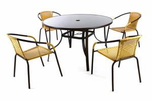 Zestaw ogrodowy, stół z krzesłami, z polirattanu, beżowy. - 2822832879