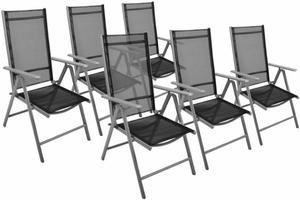 Krzesła składane aluminiowe 6szt., zestaw krzeseł ogrodowych czarne