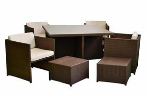 Zestaw mebli rattanowych ogrodowych - stół+4 fotele+4taborety+poduszki
