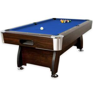 Stół bilardowy brązowy 8ft sukno niebieskie akcesoria bilardowe - 2822821795
