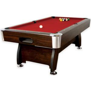 Stół bilardowy brązowy 8ft sukno czerwone akcesoria bilardowe - 2822821830