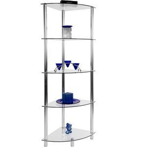 Regał narożny, regał szklany z 5 półkami - 2822822671