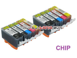 tusze PGI-525BK - CLI-526 do Canon (10 szt z chipami, Crystal-Ink) tusze do Canon MG5350, MG5250, MG5150, iP4850, iP4950, MG6150, MG6250 - 2825617777