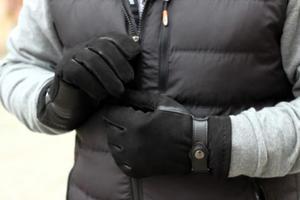 Ciepłe i solidne męskie rękawiczki ocieplane, z paskiem - 2824938985