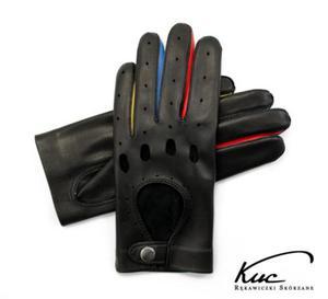 Damskie rękawiczki skórzane samochodowe - kolorowe wstawki - 2824938989