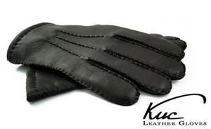 Ekskluzywne ręcznie szyte skórzane rękawiczki - ocieplane 100% kaszmirem - 2824939006