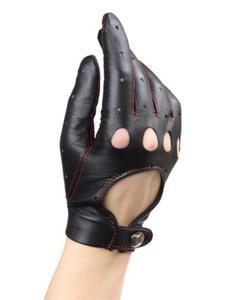 Damskie rękawiczki samochodowe - rękawiczki całuski - szyte kolorową nitką - 2824939008