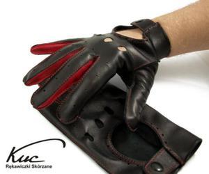 Męskie rękawiczki samochodowe, skórzane - czerwone wstawki - 2824939019