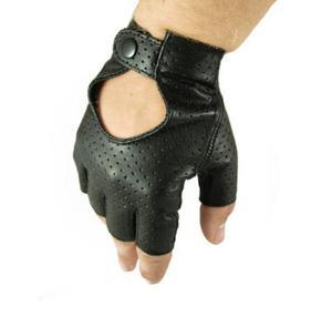 Męskie rękawiczki skórzane bez palców, samochodowe, rowerowe - skóra perforowana - 2824939037