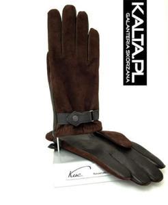 Ciepłe i solidne męskie rękawiczki ocieplane, z paskiem - brązowe - 2824939038