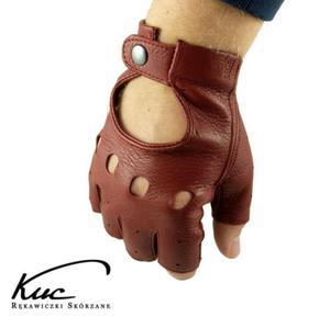 Bordowe rękawiczki bez palców ze skóry jelenia - rękawiczki rowerowe, samochodowe - 2843390369