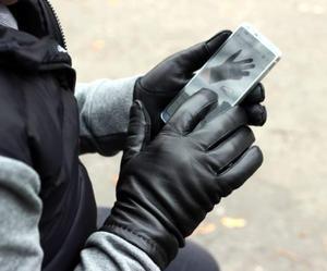 Ciepłe rękawiczki skórzane do ekranów dotykowych - rękawiczki touch screen - 2824939067