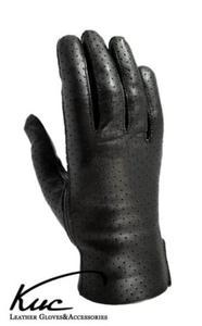 Skórzane rękawiczki nieocieplane - wiosenno-jesienne - skóra perforowana - 2824939081
