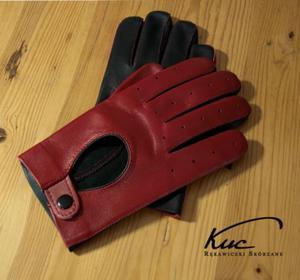 Rękawiczki skórzane, samochodowe męskie, czerwono-czarne - 2824939087