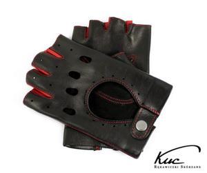 Skórzane rękawiczki bez palców, samochodowe, rowerowe - czerwone akcenty - 2824939094